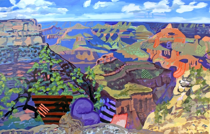 """Susanna Bluhm, """"Grand Canyon with Theo, Queequeg and Lunchtime Squirrel (Biographical),"""" 2017, oil and acrylic on canvas, 86 x 135 inches"""