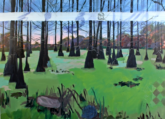 "Susanna Bluhm, ""Lake Martin, Louisiana (Ahab),"" 2018, oil and acrylic on canvas, 62 x 85 inches"
