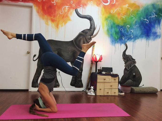 Valerie at her yoga training studio