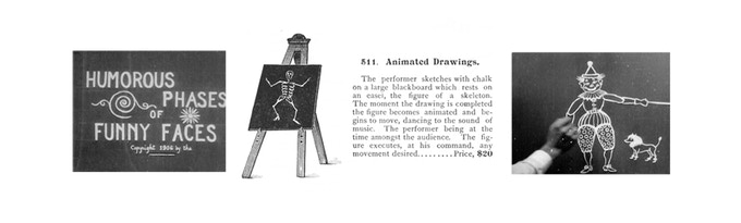 "Frames from ""Humorous Phases of Funny Faces"" (1906) and the catalog entry for its stage illusion inspiration (center)."