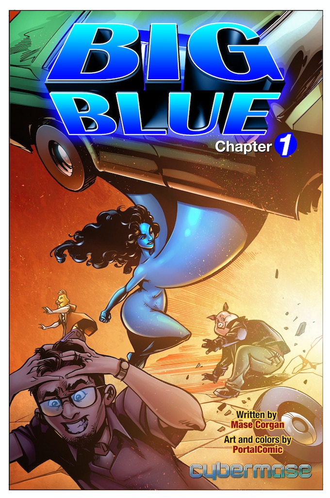 "The Cover to ""Big Blue"" features the main character using her special powers."