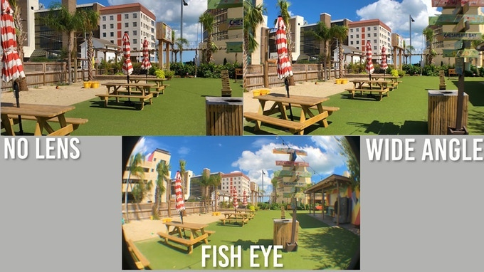 No lens vs. Wide angle vs. Fisheye lens comparison