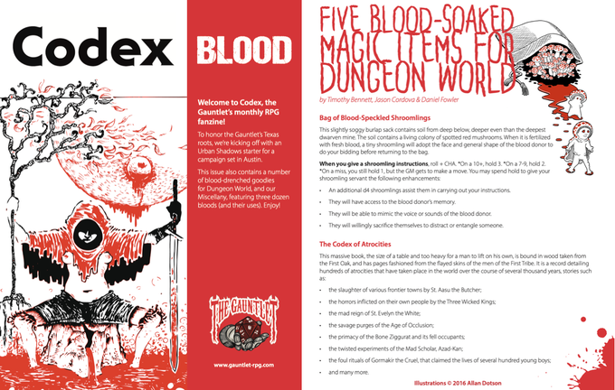 Two pages from Codex - Blood. Art is by Dirk Detweiler Leichty and Allan Dotson.
