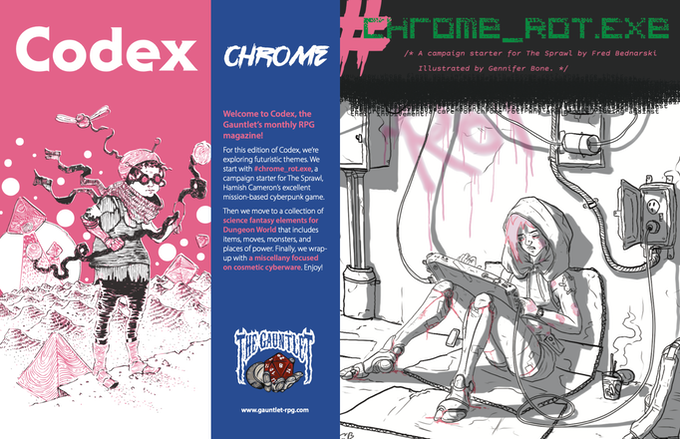 Two pages from Codex - Chrome. Illustrations by Dirk Detweiler Leichty and Gennifer Bone.
