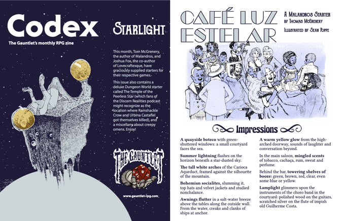 Pages from Codex - Starlight. Illustrations by Dirk Detweiler Leichty and Sean Poppe.