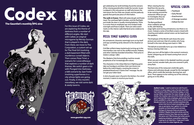 Pages from Codex - Dark. Illustrations by Dirk Detweiler Leichty and Ron Thomas.