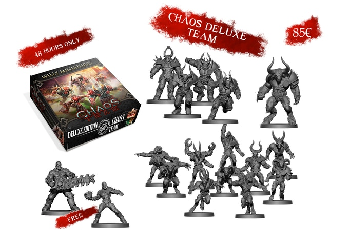 You get 2 free miniatures (Tentacleman Star Player and Chainsaw Star Player) if you pledge in the first 48 hours