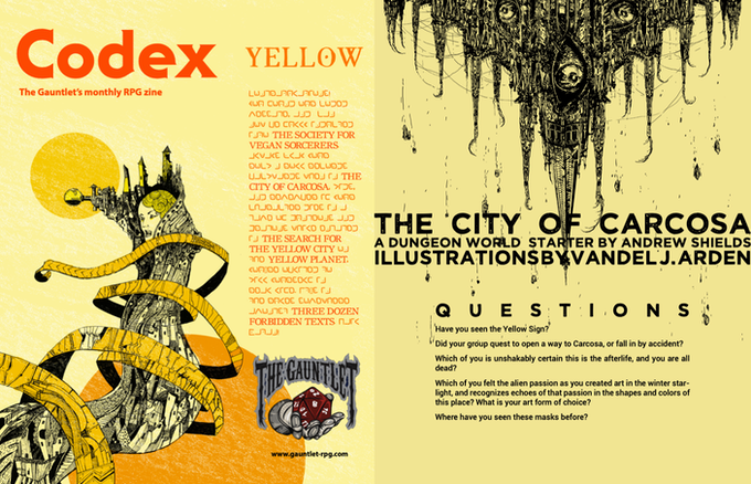 Pages from Codex - Yellow. Illustrations by Dirk Detweiler Leichty and Vandel J. Arden.