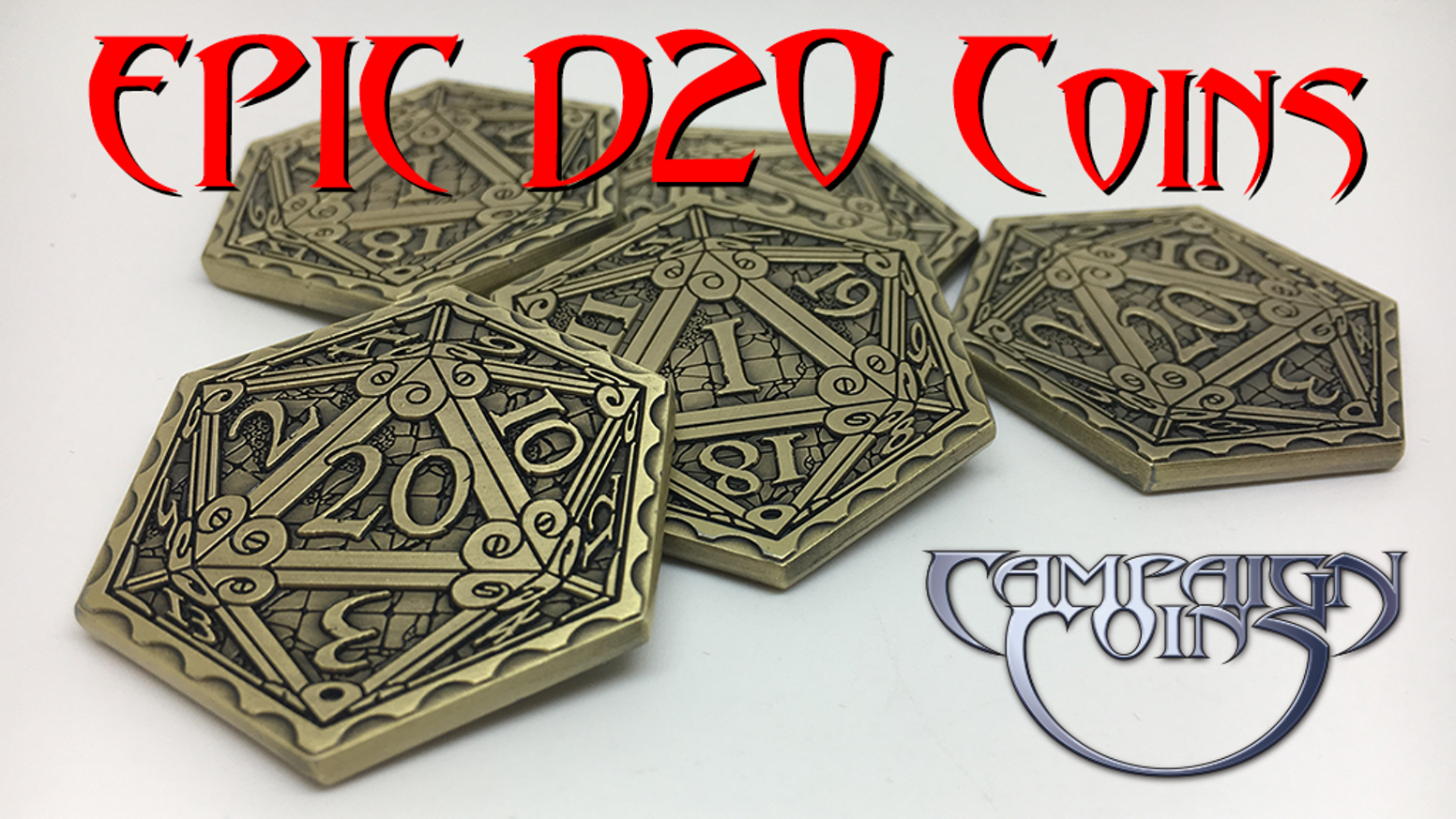 Stunning metal D20 coins with serious heft. For adventurers everywhere.