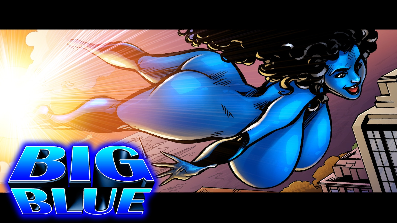 "An original graphic novel about the ultimate big boob superheroine -- ""Big Blue."""