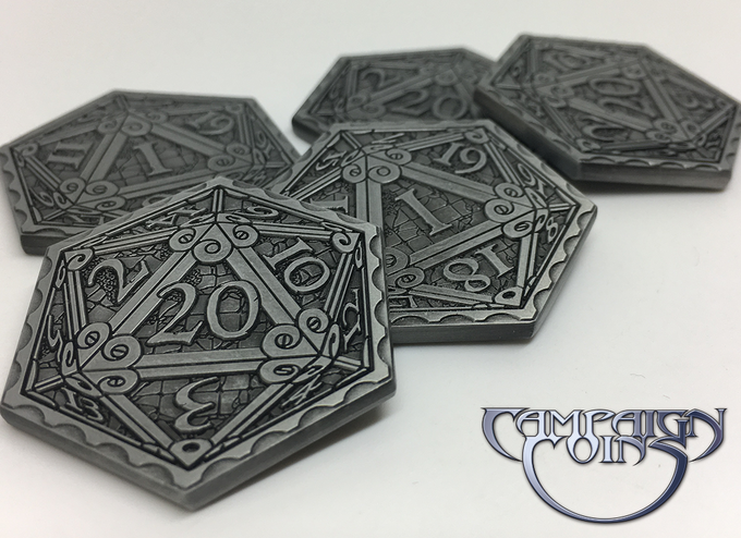 Epic D20 Coins in Antique Silver