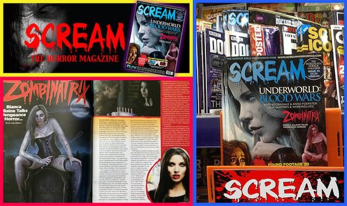 ZOMBINATRIX featured on the cover of SCREAM Magazine #40