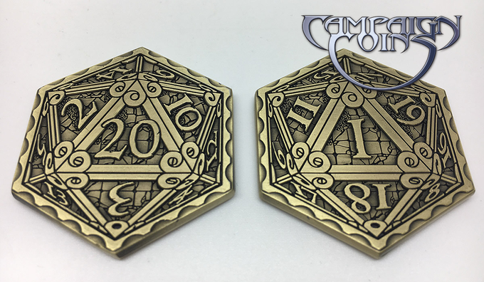 Epic D20 coin in Antique Gold: 20 on the front, 1 on the reverse