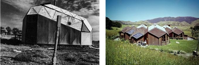 Left: Steve Baer, Cartop Dome, Drop City, Colorado, 1966; Right: Steve Baer, (Zomeworks) Jake Kittle House, Rancho Las Cruces, Gaviota, CA, 1975