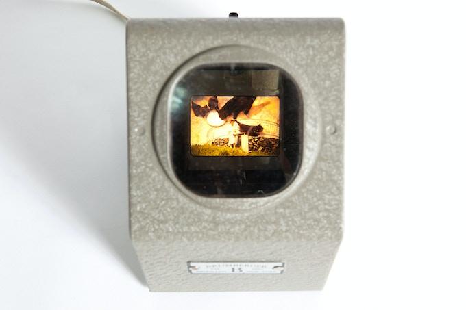 35mm slide collage seen through vintage viewer