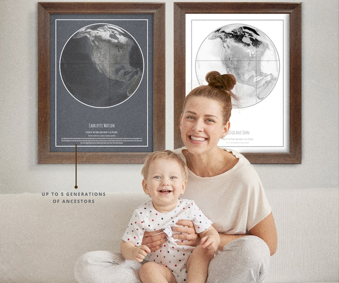Personalize your ORIGINS POSTER with up to 5 generations of traceable ancestor names.