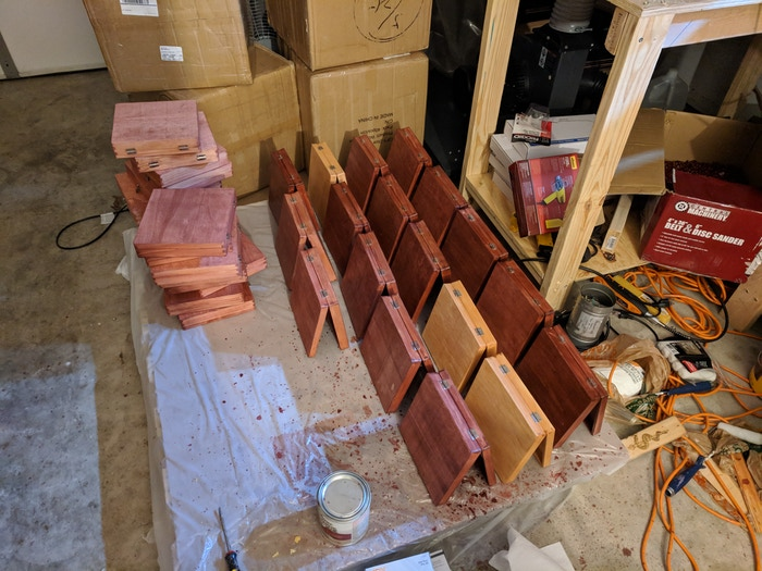 Boxes drying from clear coat application