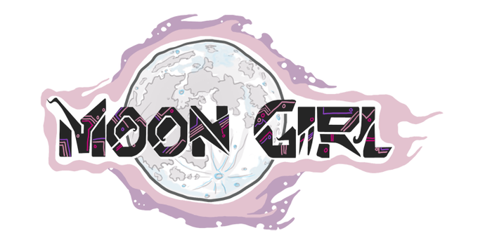 Moon Girl Sticker 4 x 2""