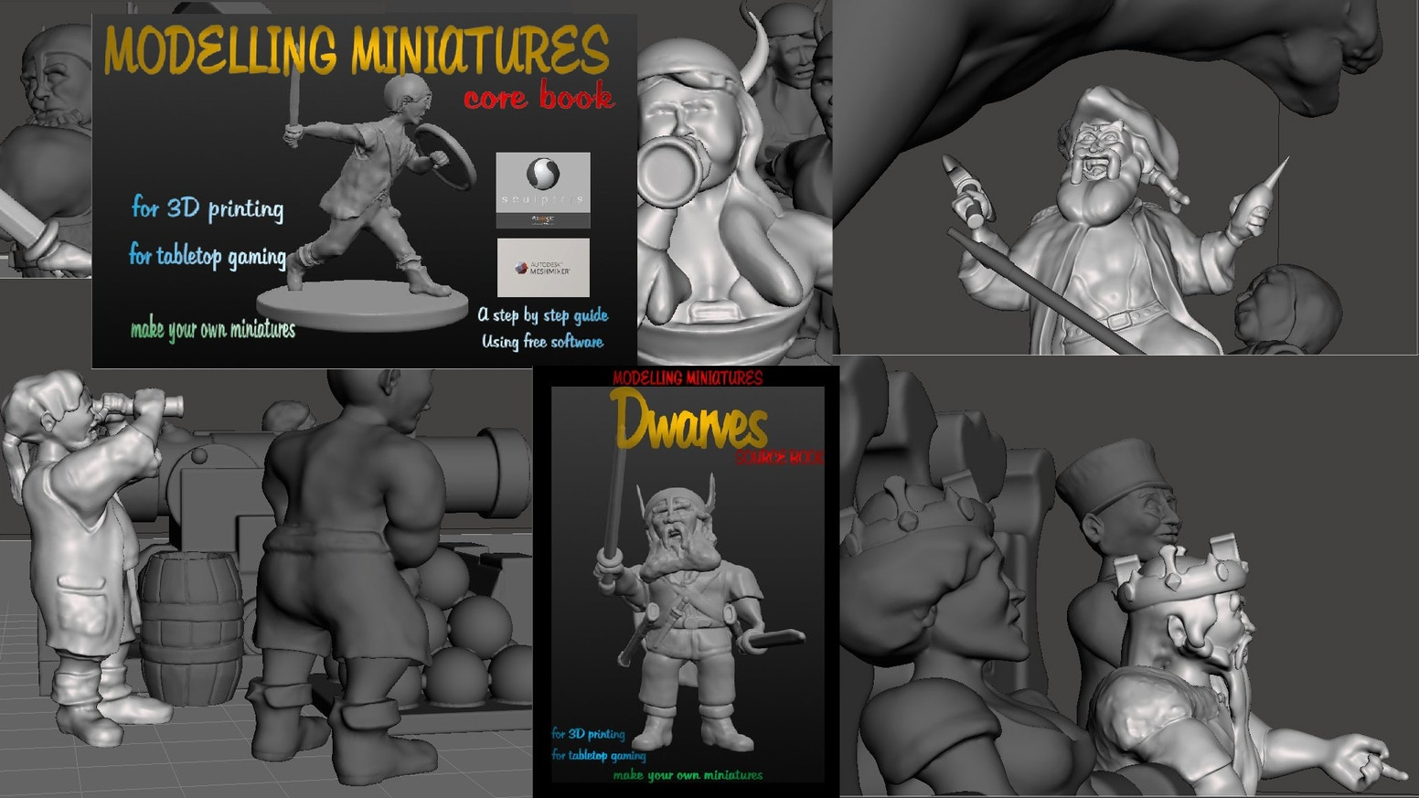 Make Your Own Miniatures - For 3D Printing - For Tabletop Games - Includes STL & OBJ Model Files To Print Or Edit & 6 Dwarf Model Sets