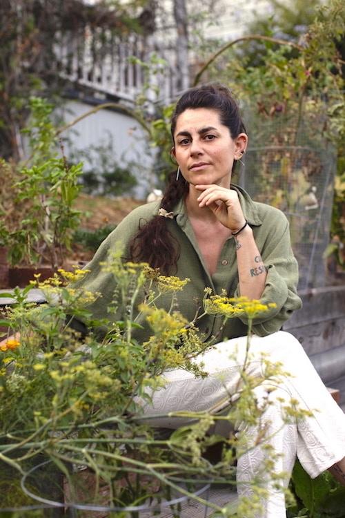 Eden in her garden in Los Angeles