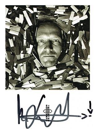 Mats Gustafsson's signature on a postcard