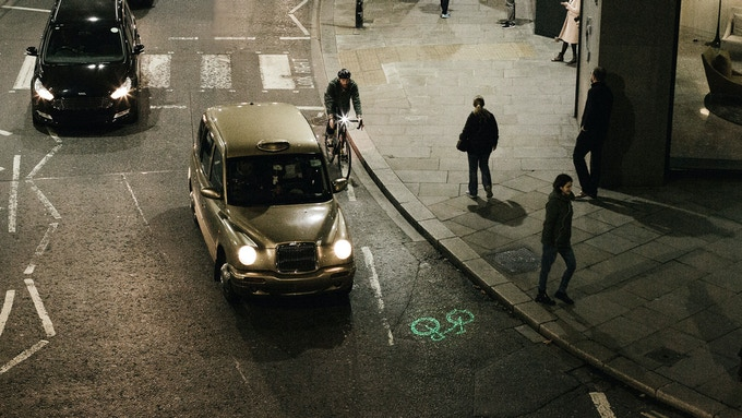 Shine a laser image on the road ahead, so drivers know you're coming. Even when in the blind spot.