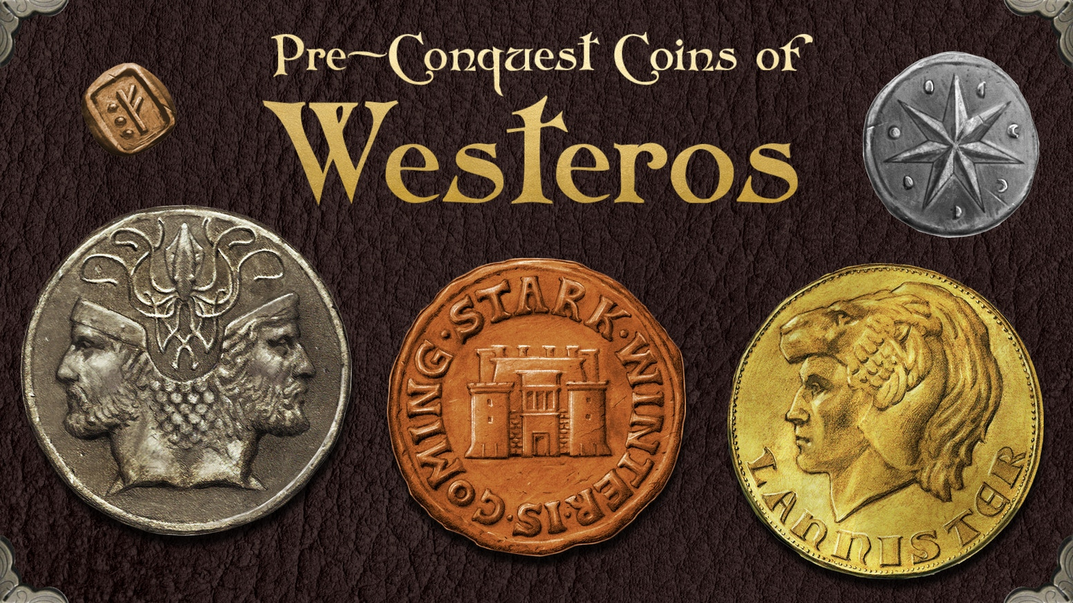 Official metal coins presented in a Coin Map of Westeros, licensed by George R. R. Martin, the author of A Song of Ice and Fire