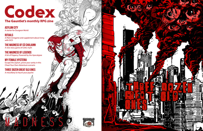 Two pages from Codex - Madness. Art by Claudia Cangini and Vandel J. Arden.