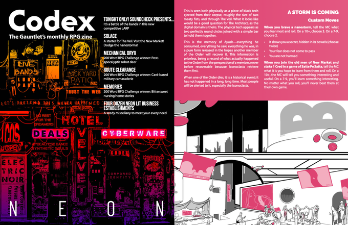 Two pages from Codex - Neon. Illustrations by Vandel J. Arden and Alex Prinz.