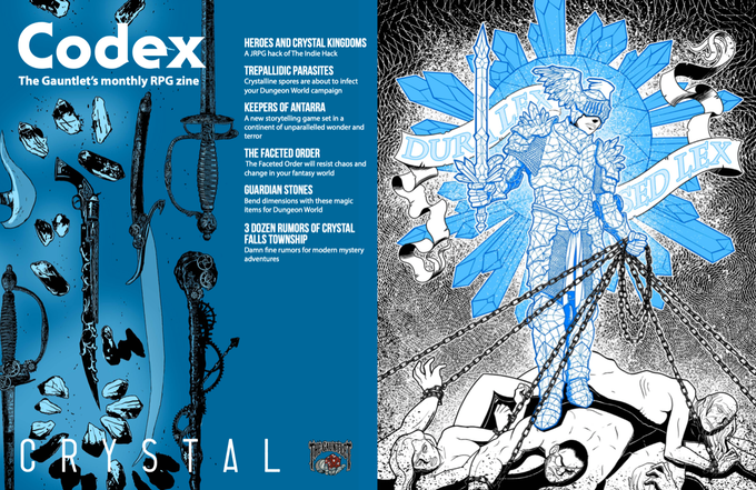 Two pages from Codex - Crystal. Illustrations by Vandel J. Arden and Claudia Cangini.