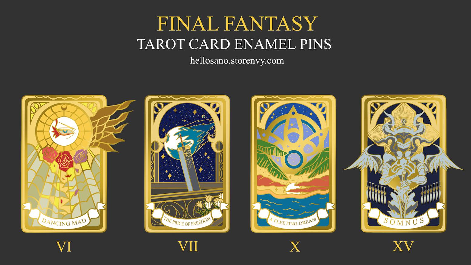 43b5dd0227a Final Fantasy Tarot Card Enamel Pins by Sano Eli — Kickstarter