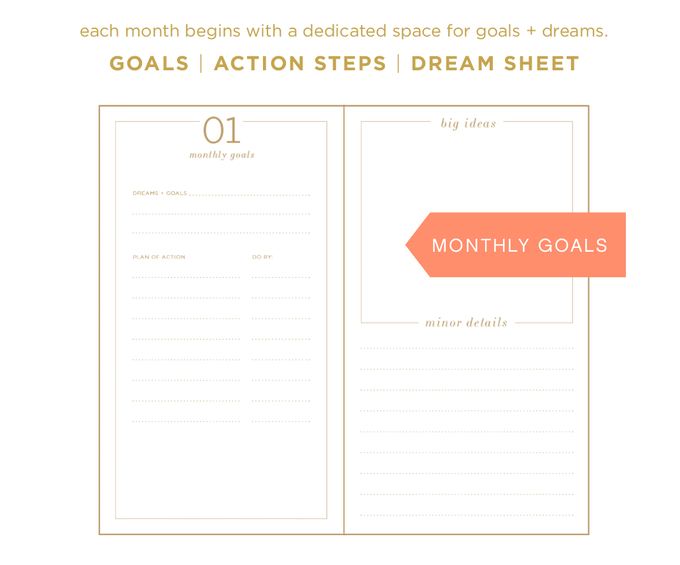 each month begins with dedicated space for goals