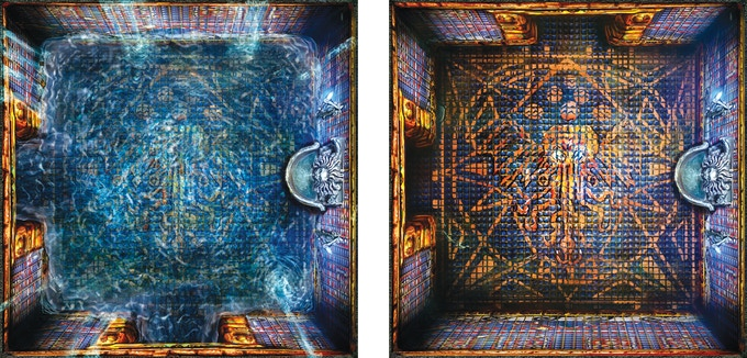 Room tile variant showing the Mystical Fountain room when flooded and dry.