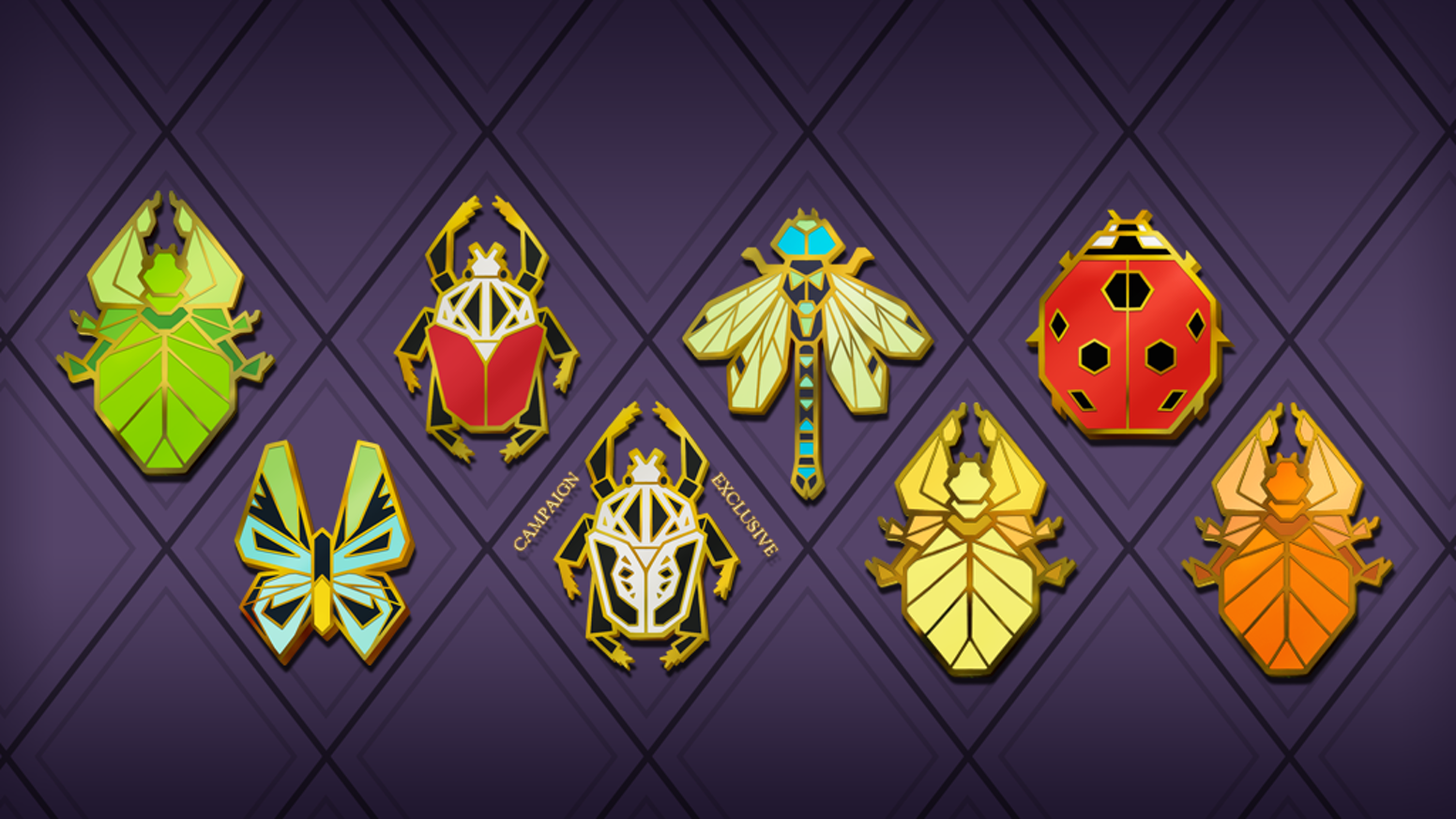 A second round of geometric insect pins in hard enamel - eyecatching and beautiful designs inspired by real species!