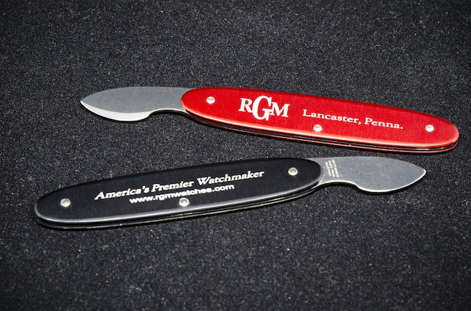 The proper tool for prying open a snap-on case back, this ridged case knife is made for RGM Watch Co. by Victorinox in Switzerland. With RGM logo and wording.