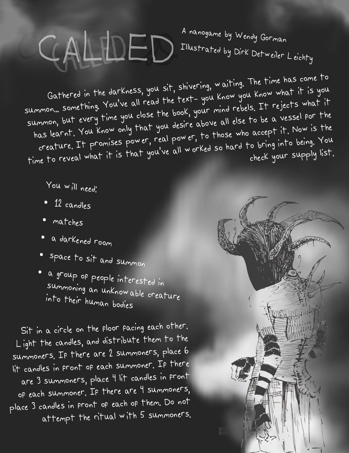 """A page from the game """"Called,"""" a creepy as hell demon-summoning LARP found in Volume 1. Illustration by Dirk Detweiler Leichty."""