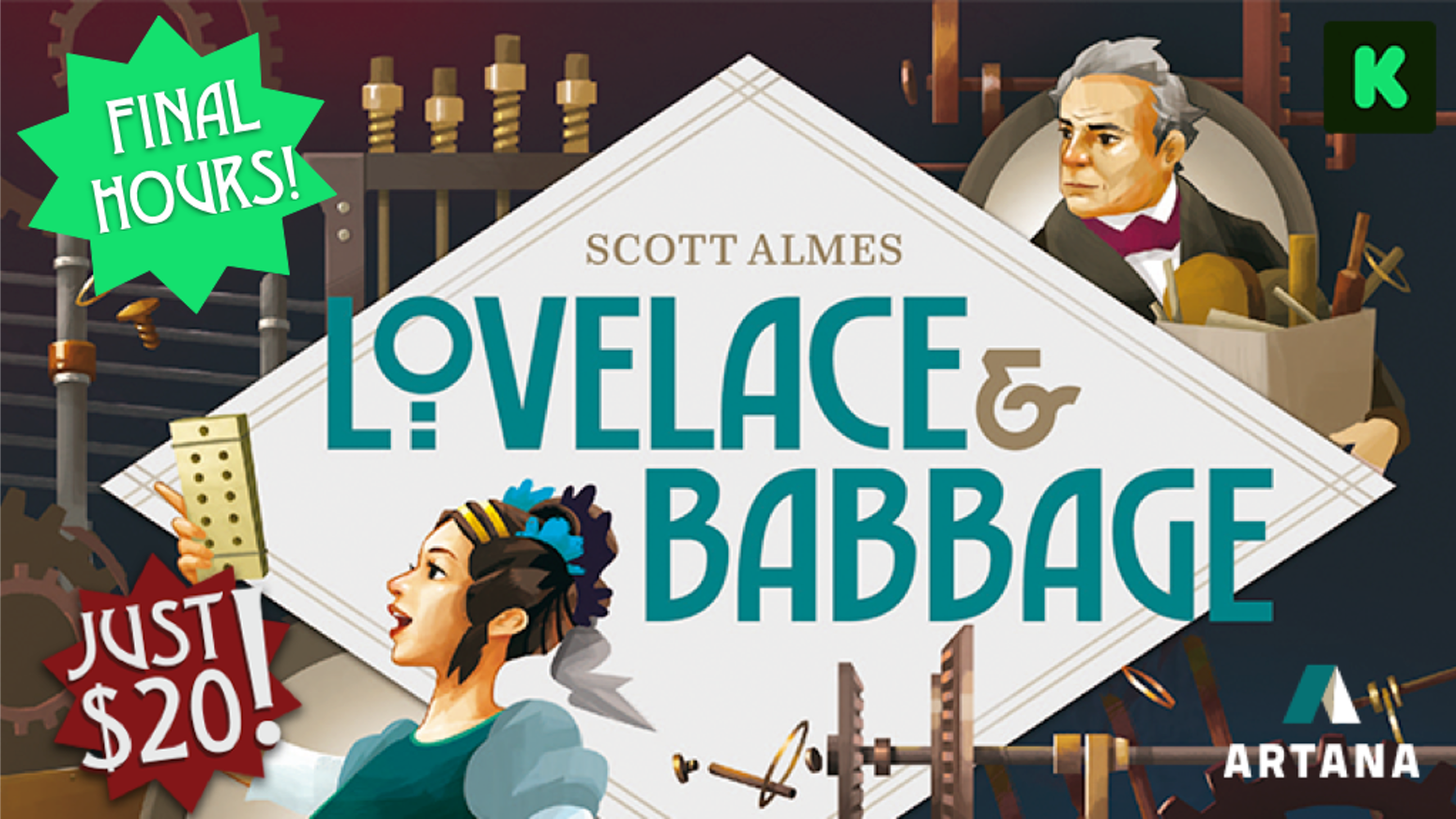 By the Tiny Epic series designer, a clever filler game that unlocks the dawn of computing with pioneers Ada Lovelace & Charles Babbage!