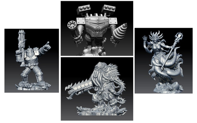 New miniatures for the DeepWars two-player starter set. Fortune Hunters (left and top) Lucius Cromwell – Crusader of the Abyss and the Iron Predator Mech Construct. Dark Mariners (right and bottom) Cylla Darkmyre and the Obliterator Biomech