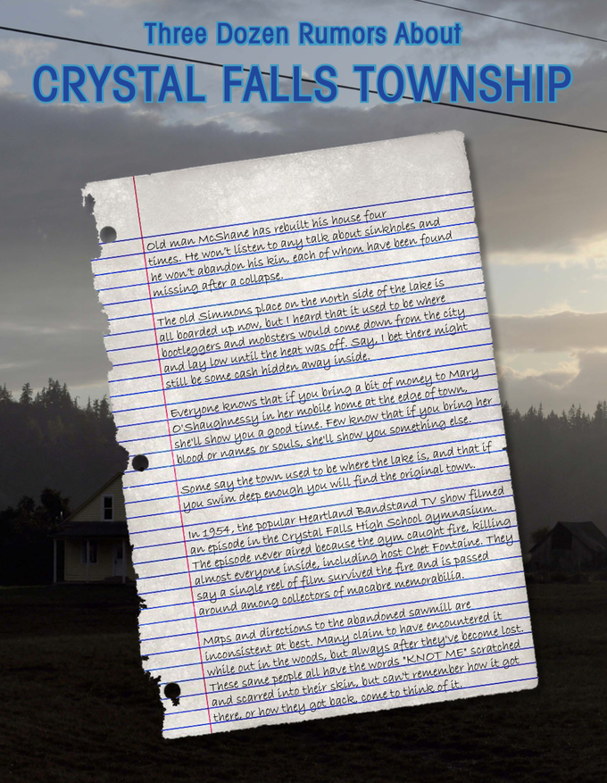 """From """"Three Dozen Rumors About Crystal Falls Township,"""" a miscellany in Volume 1."""