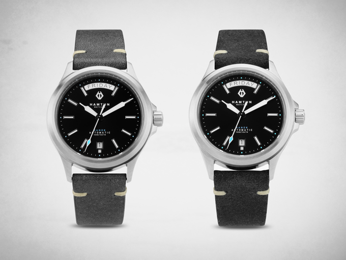 Our grey (left) & black (right) leather straps
