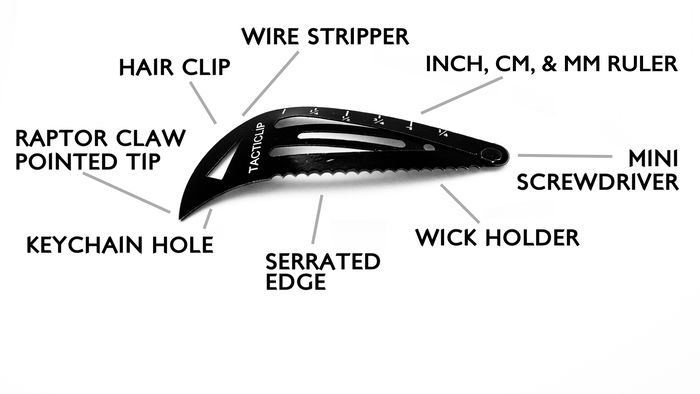 ★★★★★  Revolutionizing the hair clip. Utilitarian raptor claw tip, serrated edge, wire-stripper, screwdriver, & more. Concealable. Safe on hair. TSA tested.
