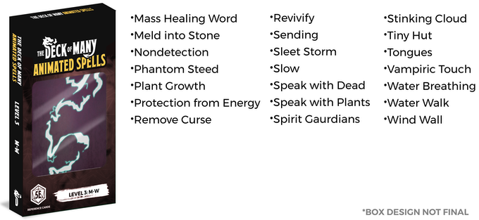The Deck of Many Animated Spells: DnD 5E Spell Cards by Hit Point