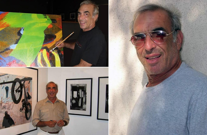 L: Billy at work at the easel, and surrounded by his photographic images at a local gallery.  R: posing for GQ. He was rejected.