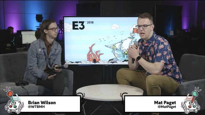 Brian and Mat Paget on the Gamespot stage at E3 2018