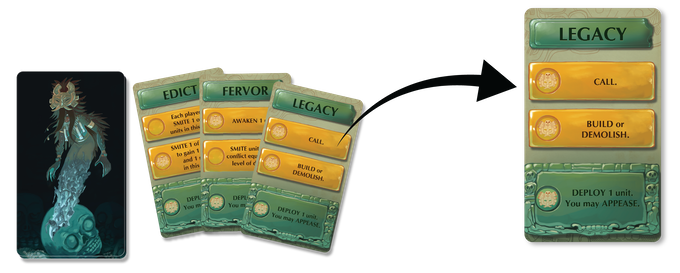 In turn order, one at a time players will perform one of the available actions from their chosen action card until all players have performed two of their three available actions in an attempt to win one or more of the conflict rewards.
