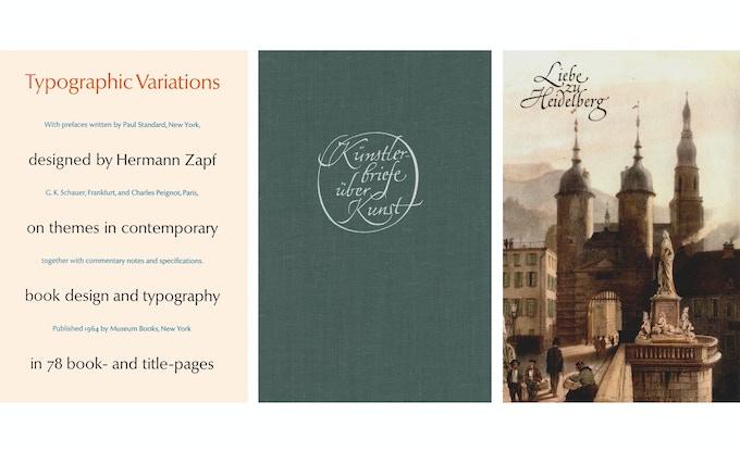 Zapf book designs for three publishers: Museum Books, Büchergilde Gutenberg, and Hermann Emig.