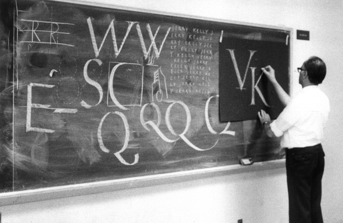 Hermann Zapf teaching at the Rochester Institute of Technology, ca. 1980.