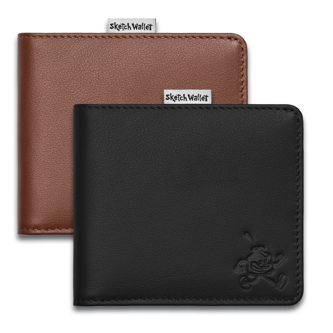 Medium leather wallets come in black or brown