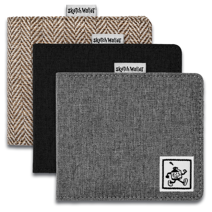 Medium fabric wallets come in brown tweed, black and gray canvas