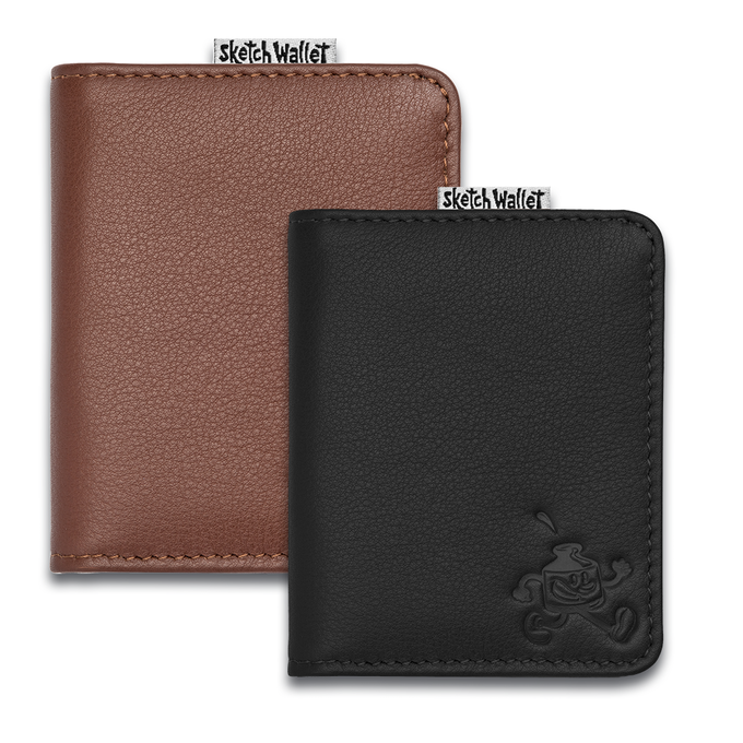 Small leather wallets coming in brown or black leather